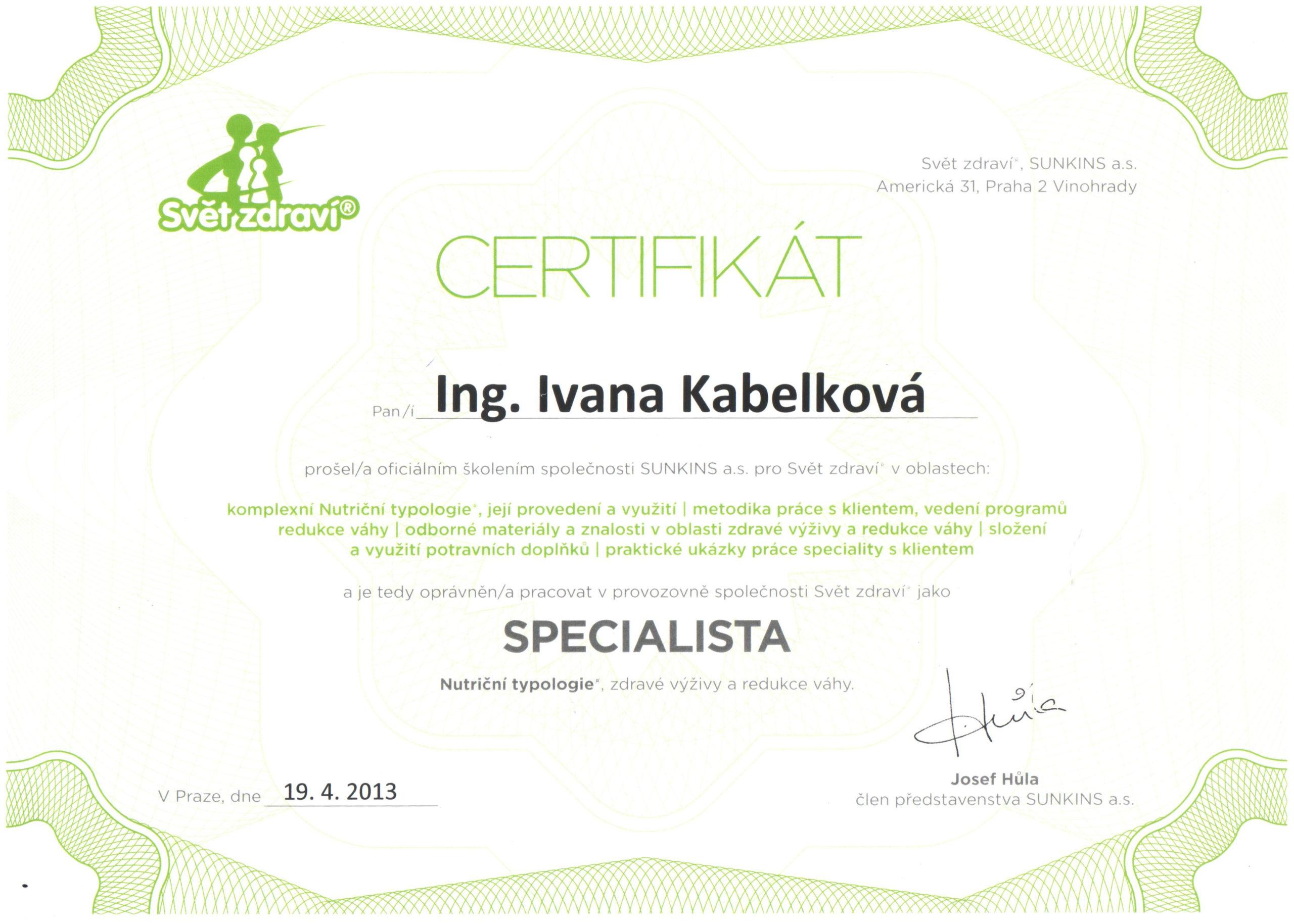 Certifikát - Specialista nutriční typologie