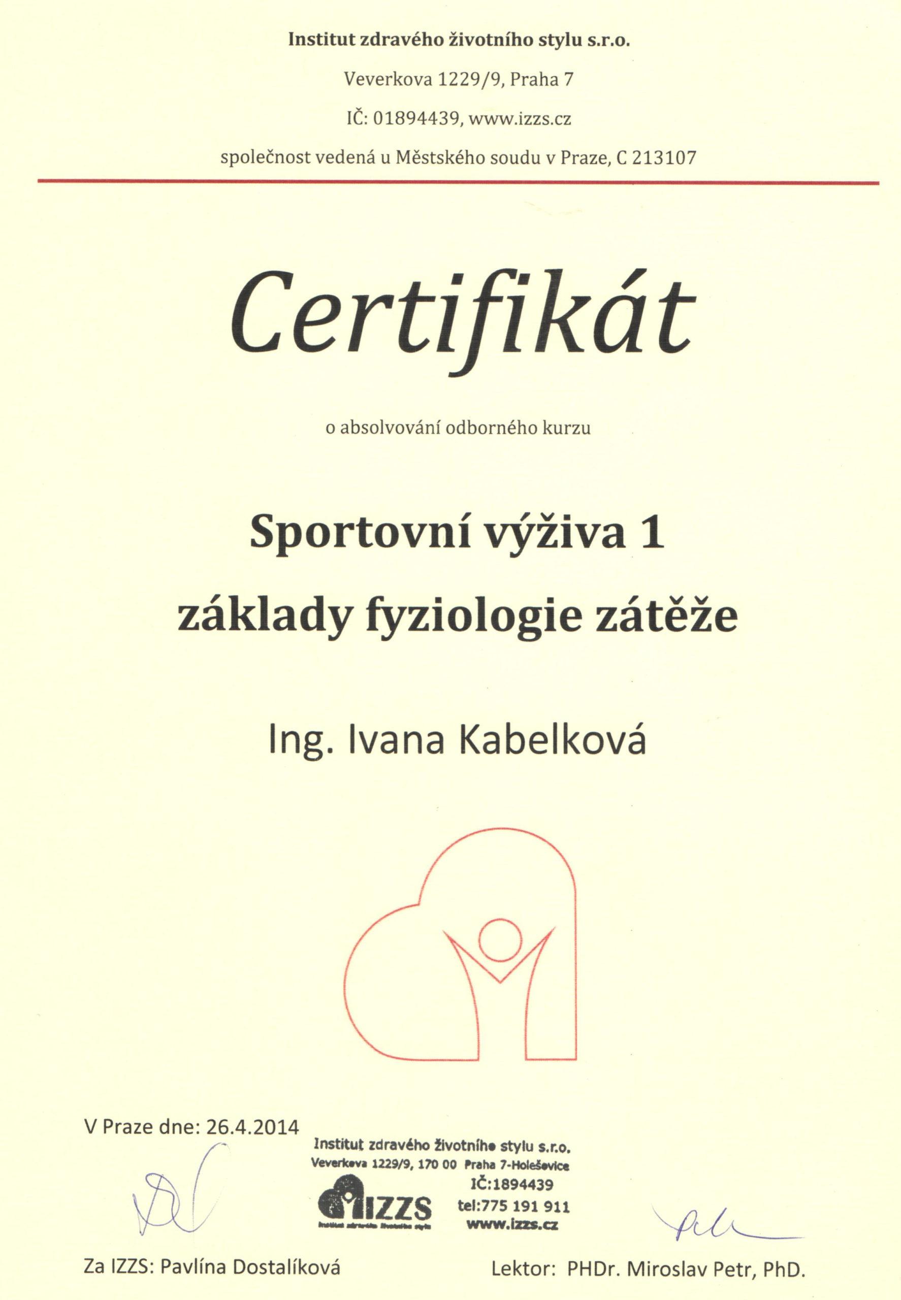 Certifikát - sportovní výživa 1