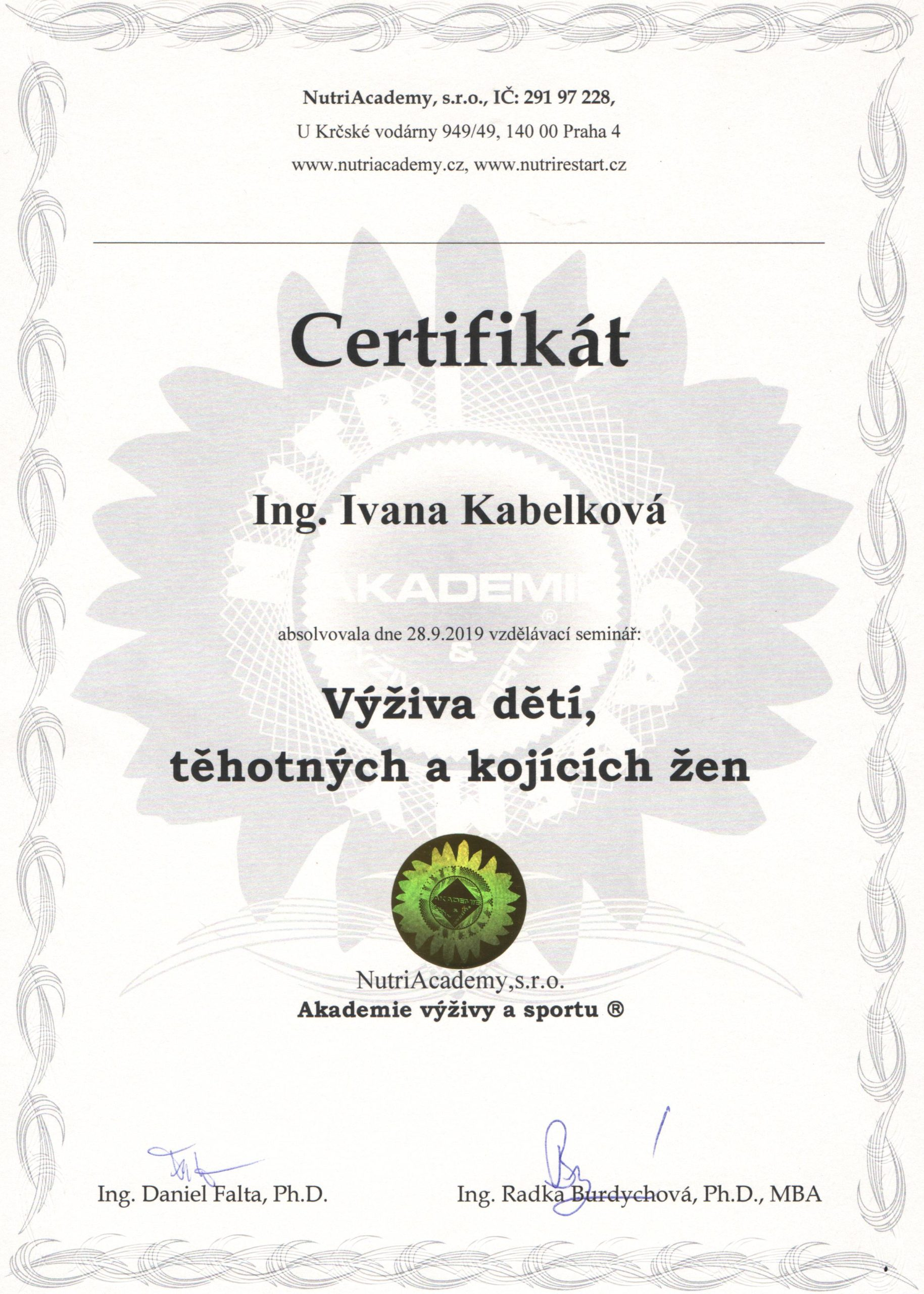 Certifikát - Výživa dětí, kojících a těhotných žen