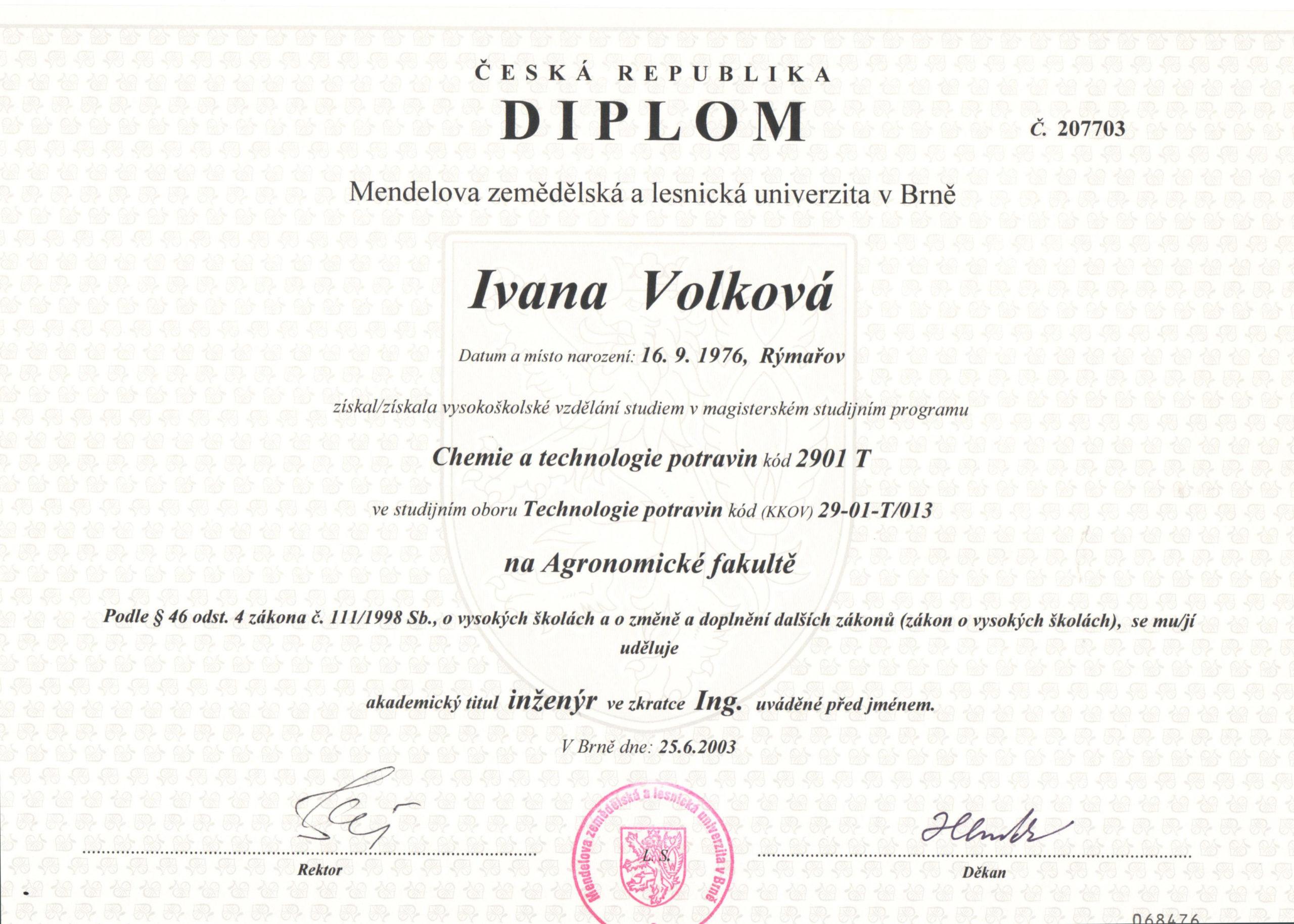 Diplom - Chemie a technologie potravin